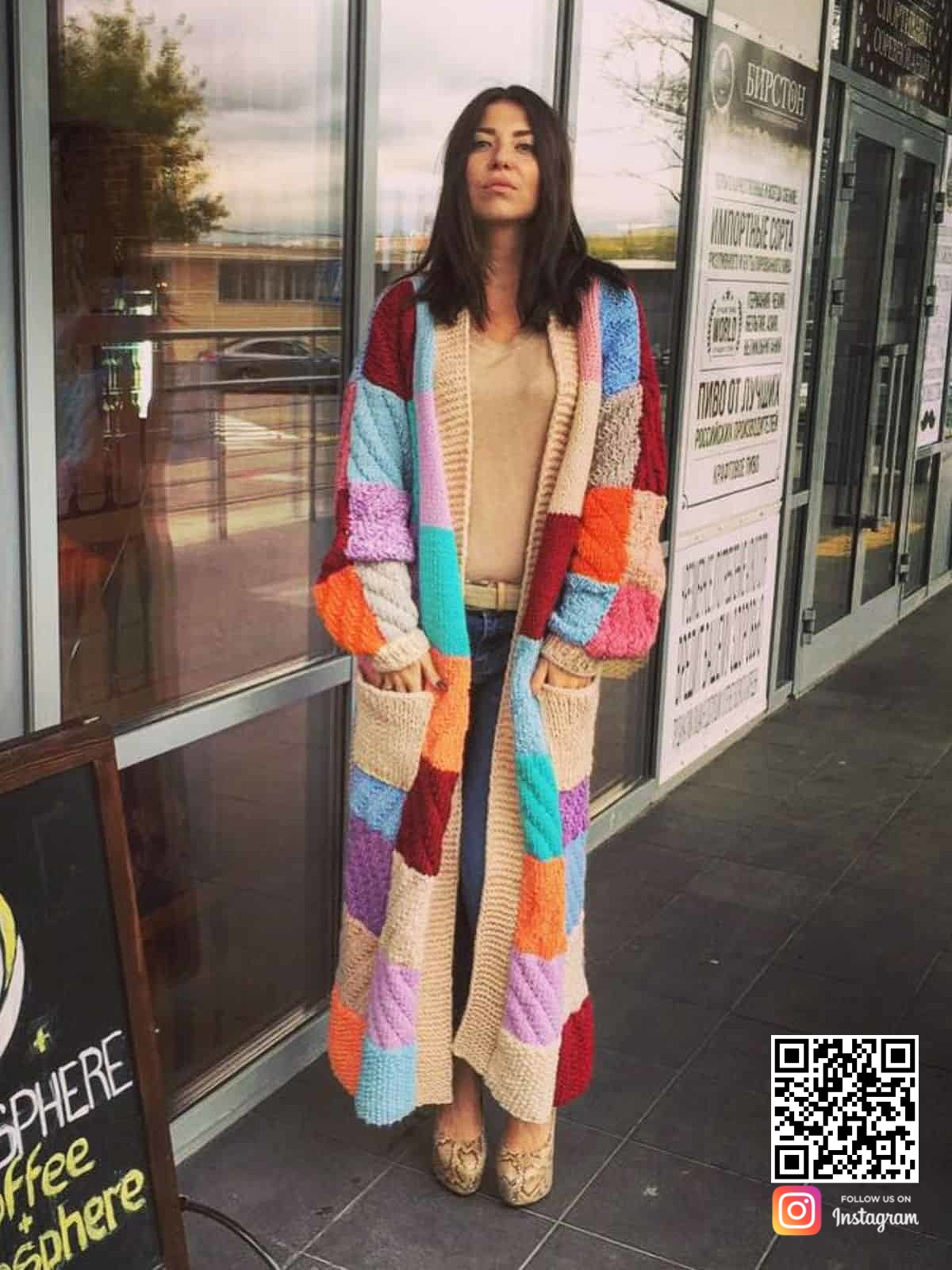 На четвертой фотографии кардиган цветной женский разной фактуры от Shapar, бренда одежды ручной работы в интернет-магазине связанных спицами вещей.