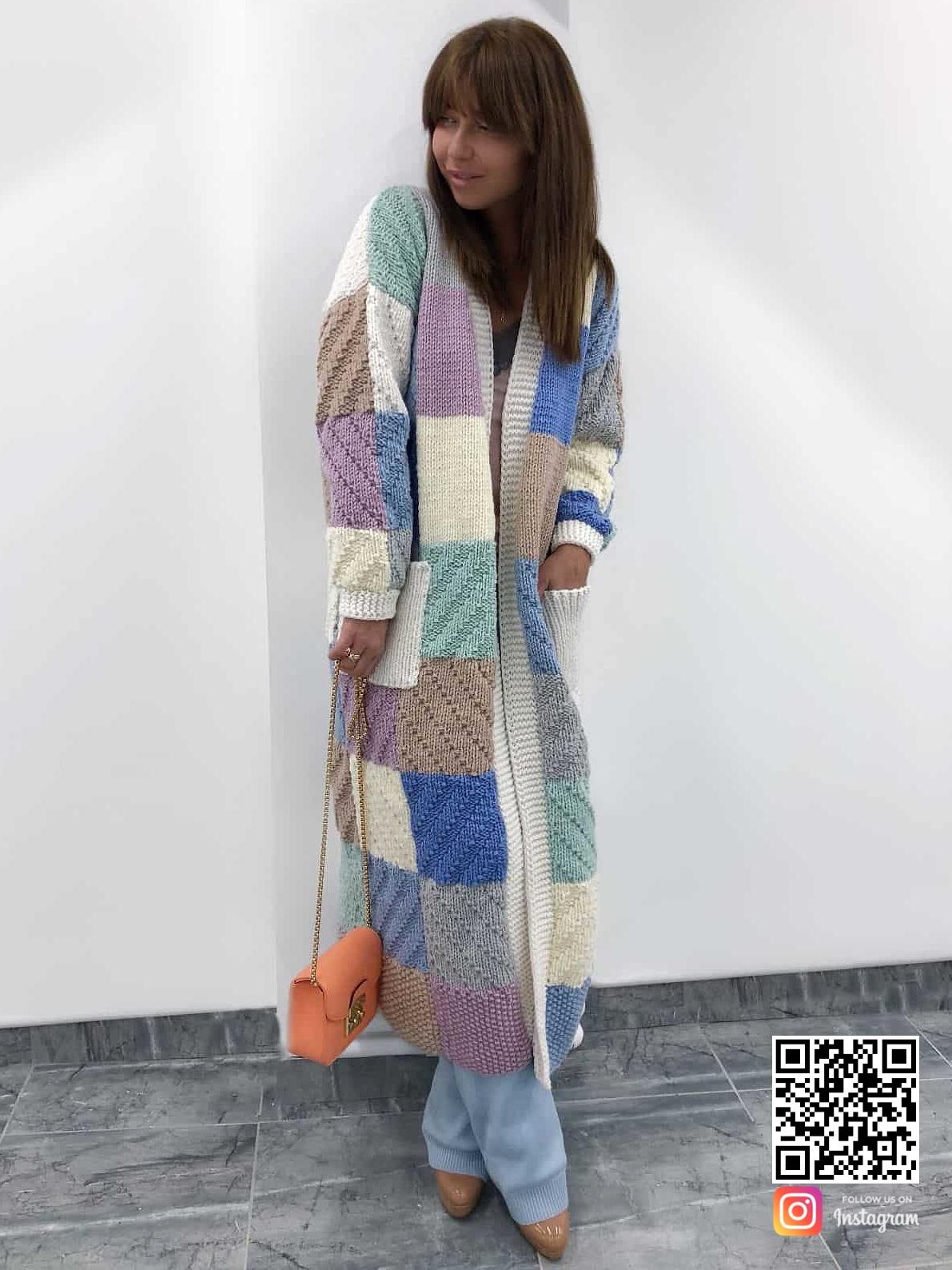 На фотографии стильный длинный кардиган от Shapar, бренда эксклюзивной одежды ручной работы в интернет-магазине связанных вещей.