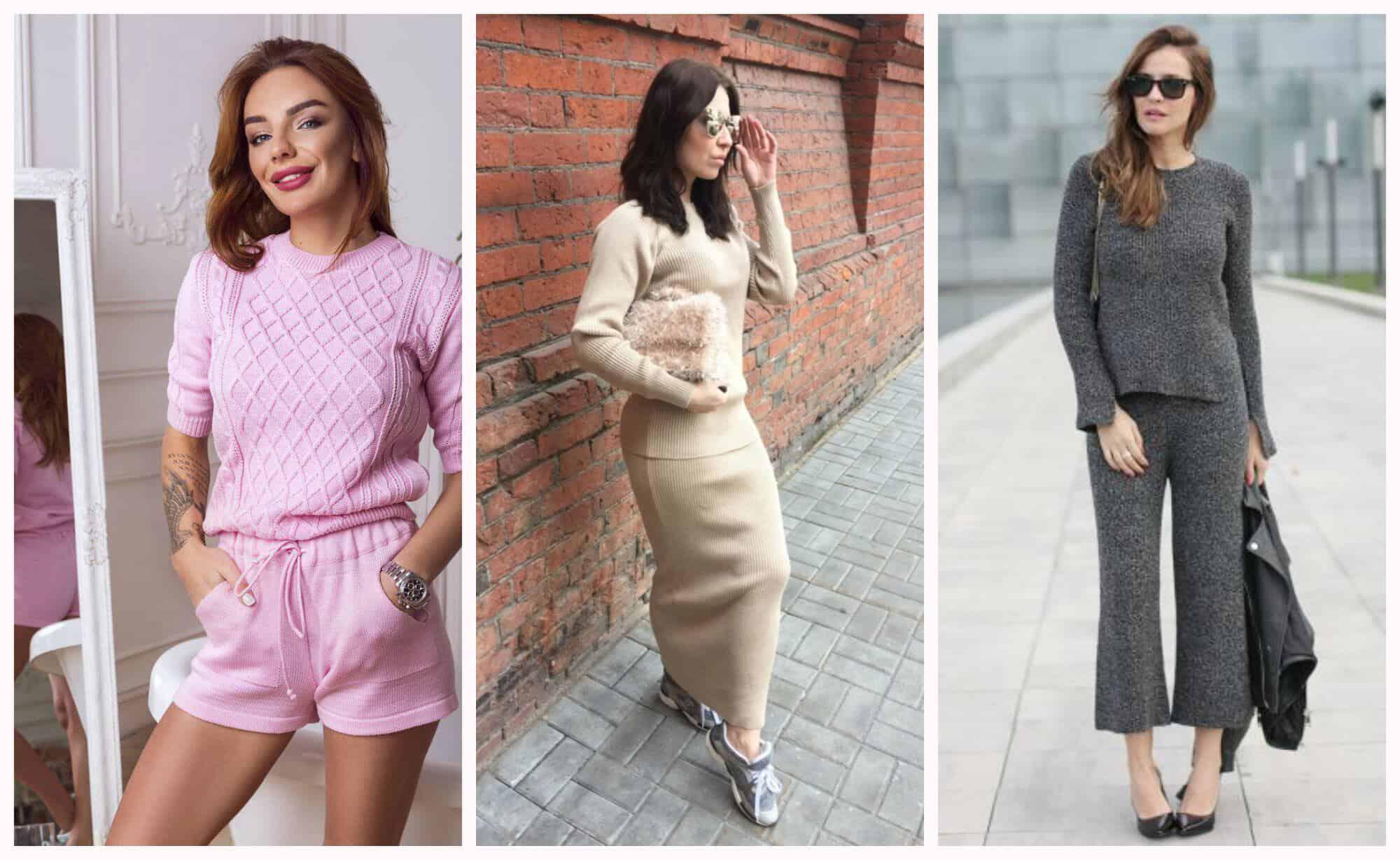 вязаные женские костюмы модные модели 2018