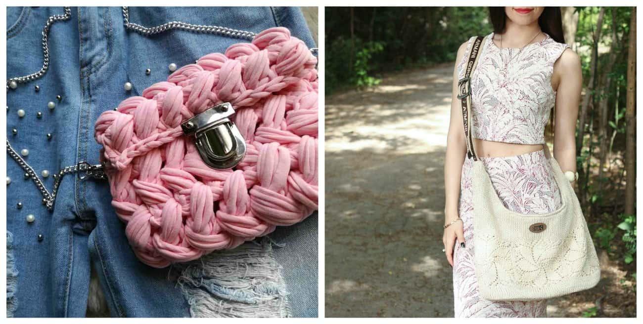 с чем носить вязаную сумку