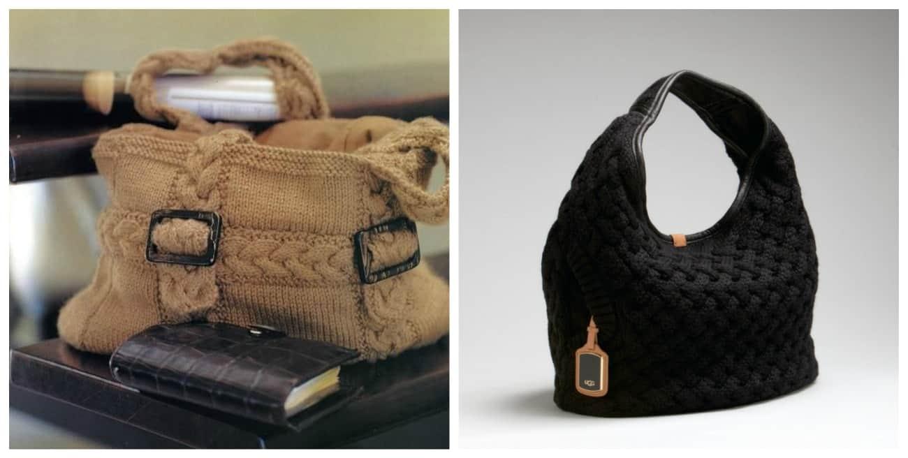 вязаная сумка в деловом стиле