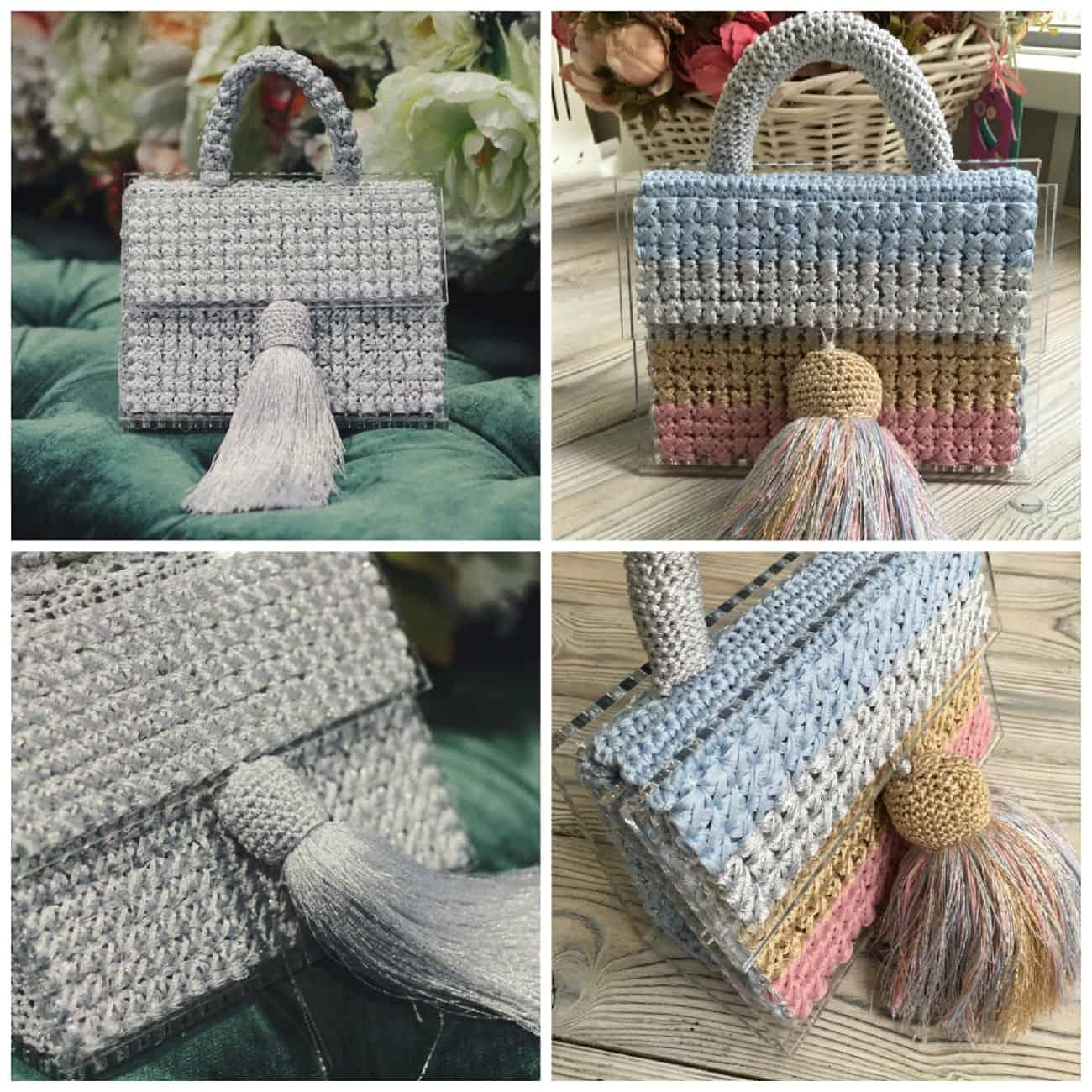 купить вязаную сумку из оргстекла