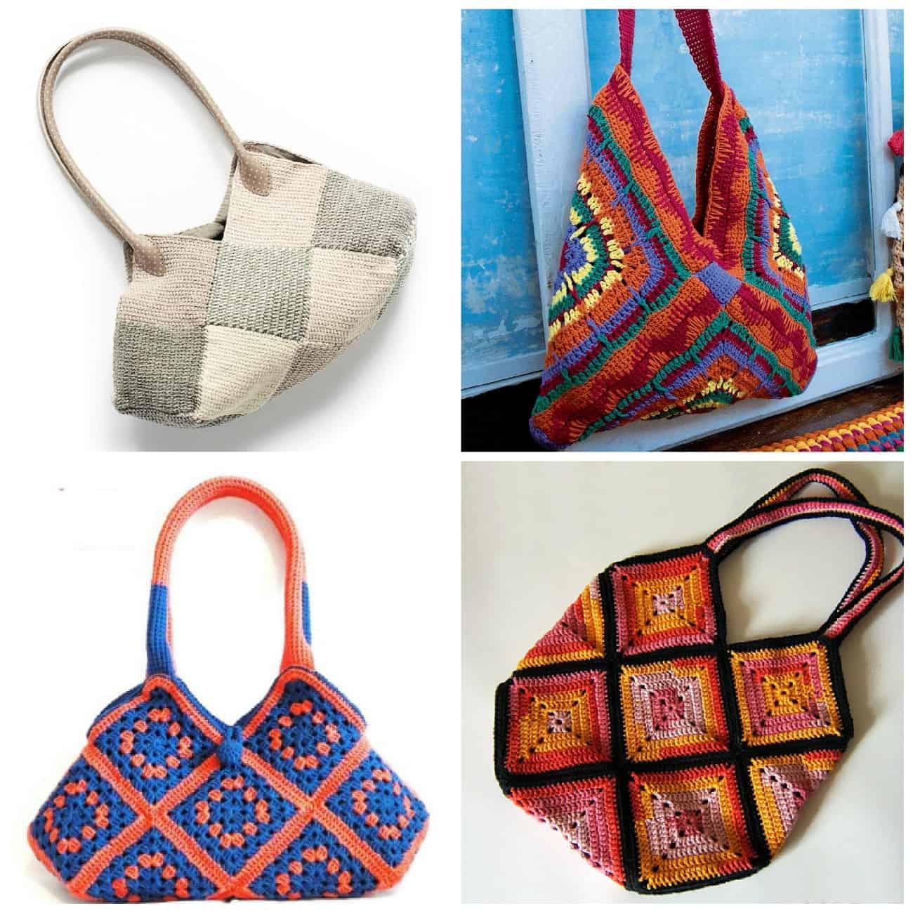 купить вязаные сумки с квадратами