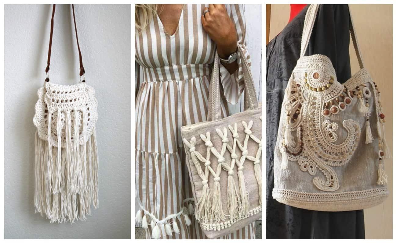вязаные сумки в стиле бохо