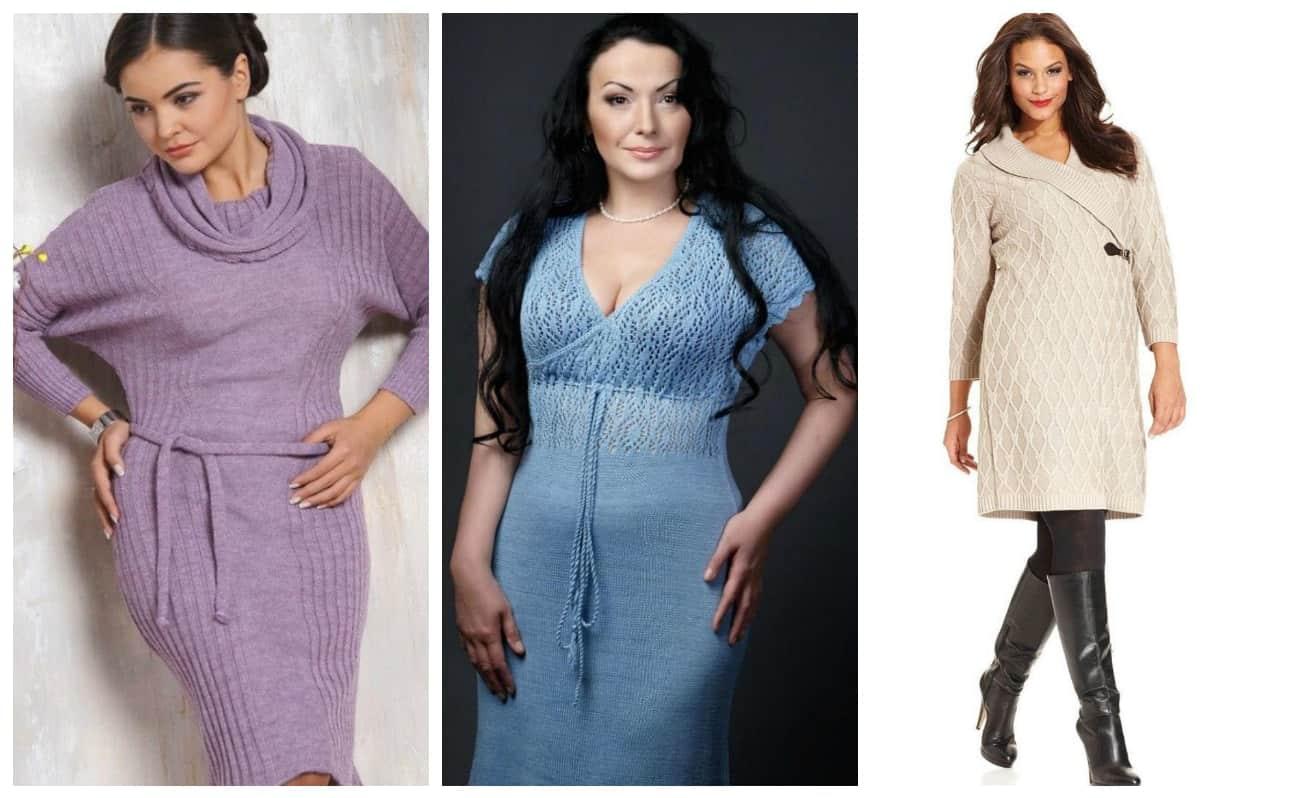 модное вязаное платье для полных