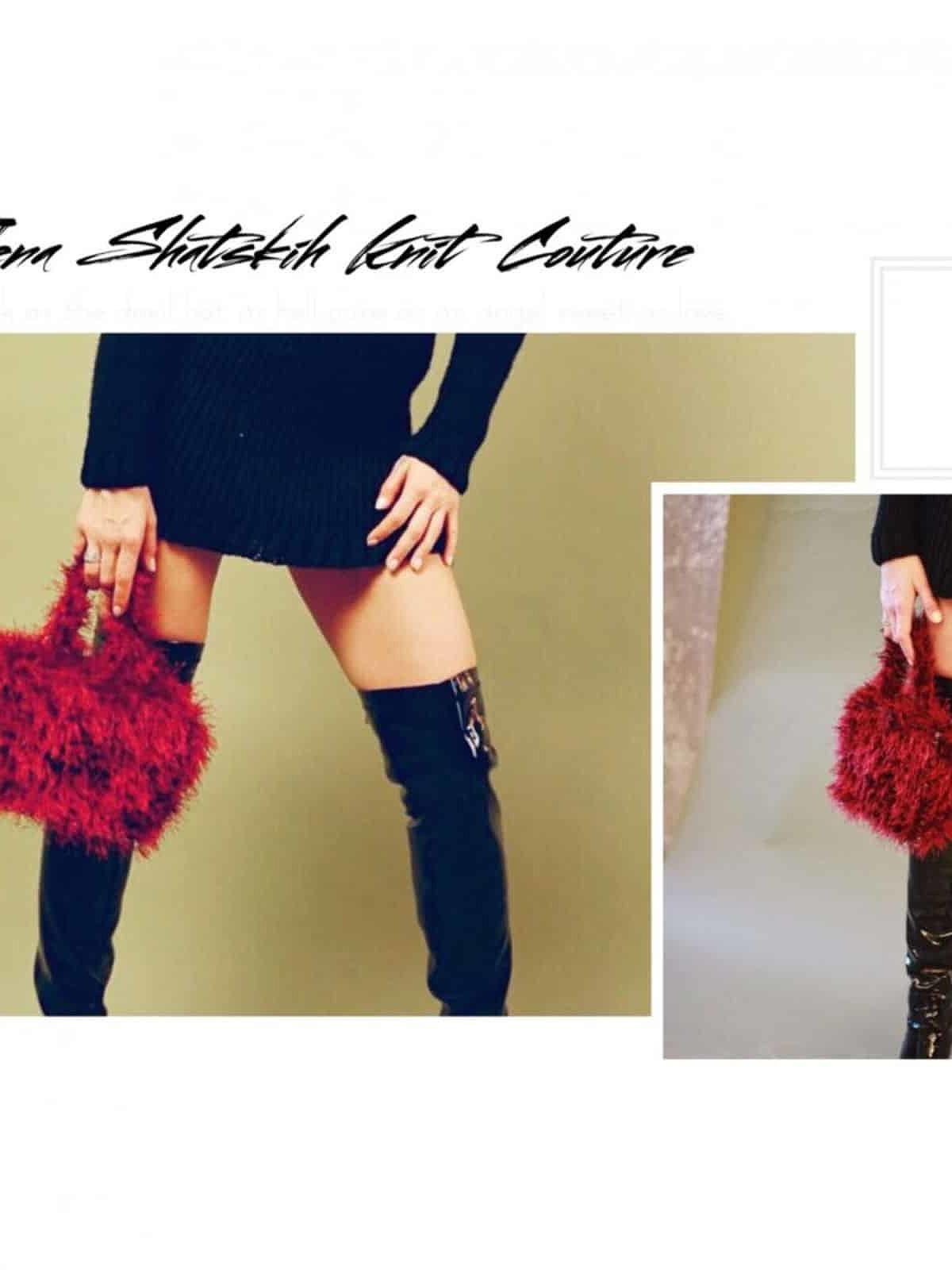 На третьей фотографии женская пушистая сумка бордового цвета от Shapar, бренда вязаной одежды и аксессуаров ручной работы в интернет-магазине связанных спицами вещей.