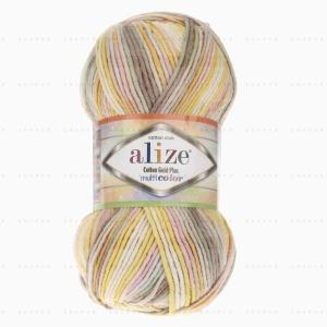 На фотографии изображена пряжа Коттон Голд Плюс Мультиколор Ализе - Cotton Gold Plus Multicolor Alize в интернет-магазине ShaparBrand.ru
