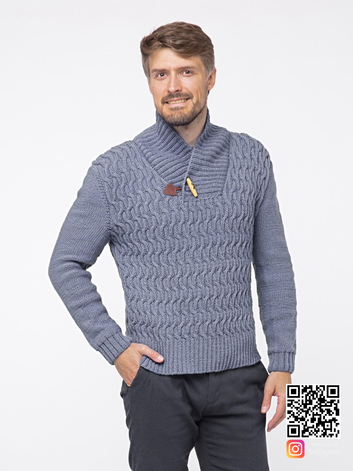На фотографии серый вязаный свитер мужской от Shapar, бренда связанной одежды ручной работы в интернет-магазине вещей.