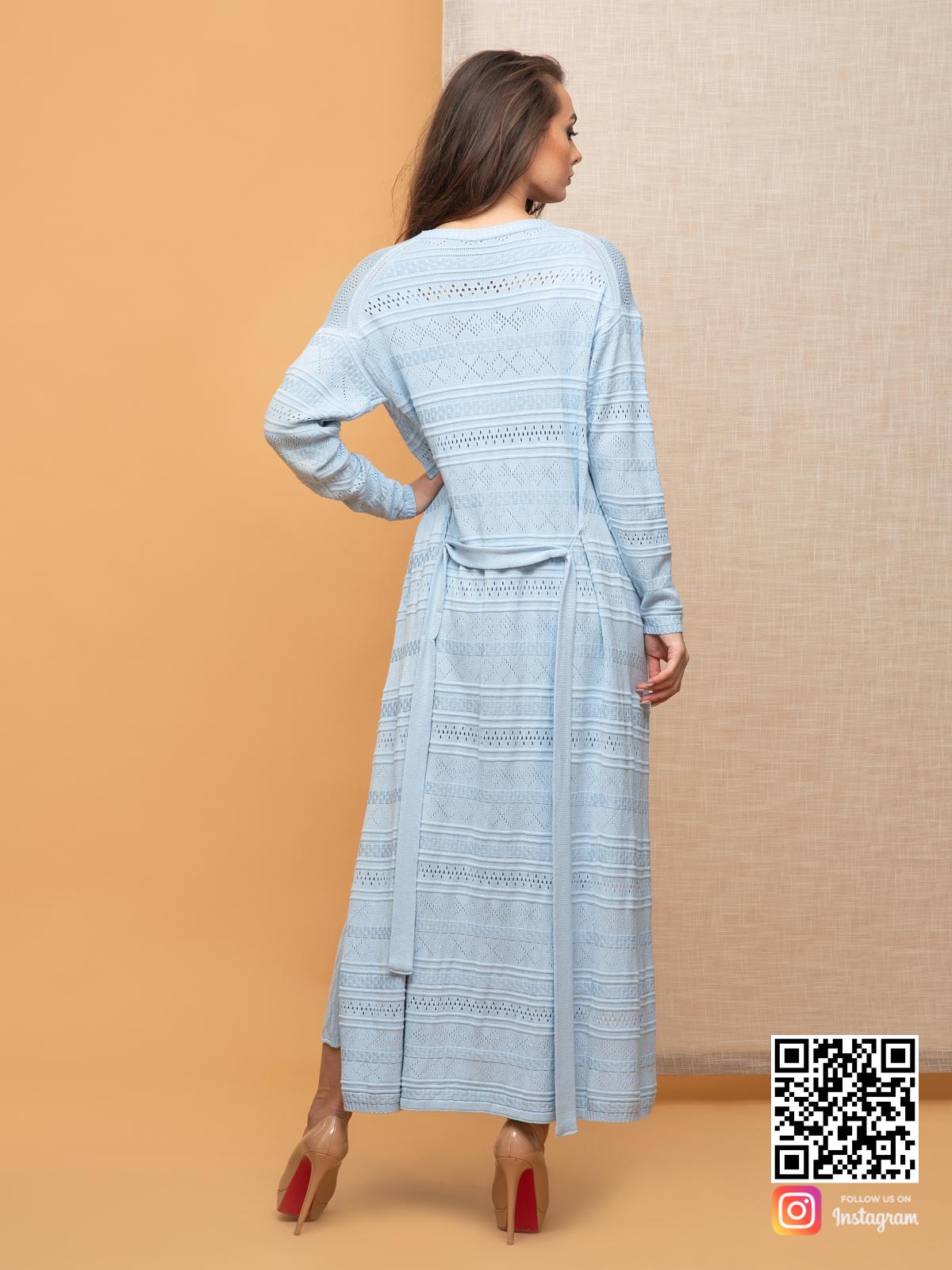 На второй фотографии женский летний кардиган со спины от Shapar, бренда вязаной одежды ручной работы в интернет-магазине связанных спицами вещей.