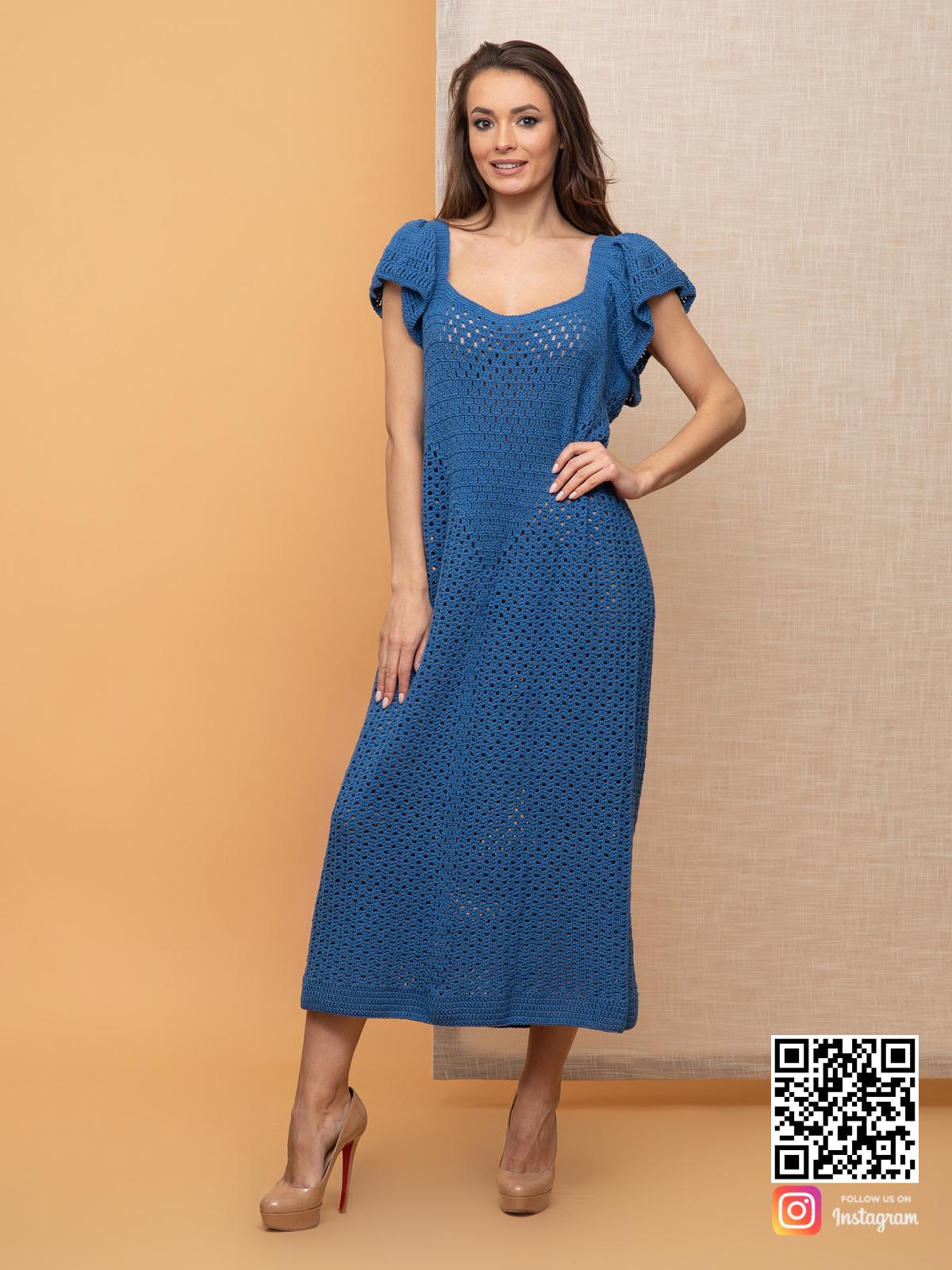 На пятой фотографии летнее вязаное платье без рукавов для девушек и женщин от Shapar, бренда одежды ручной работы в интернет-магазине связанных спицами вещей.