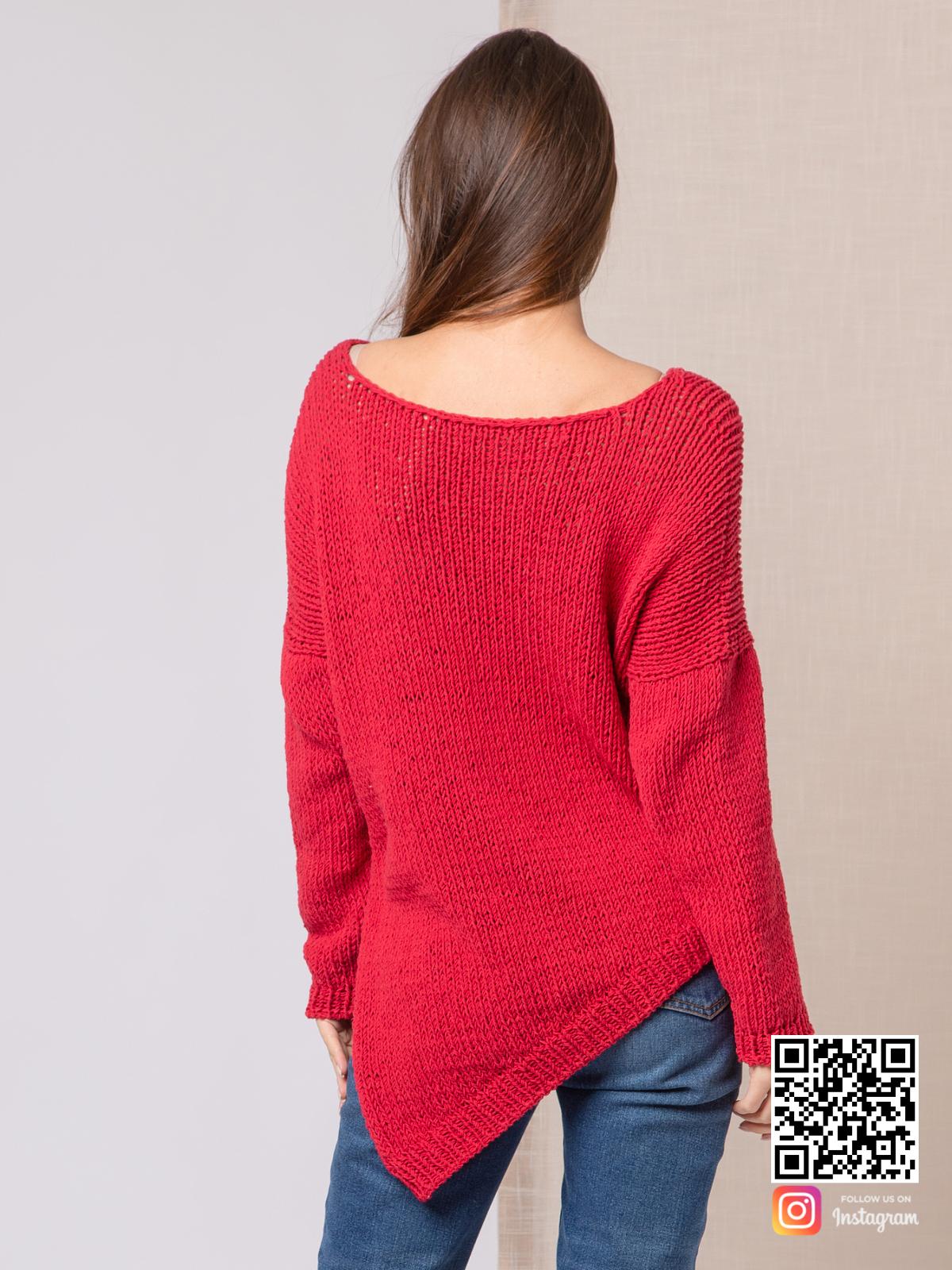 На третьей фотографии тонкий свитер женский со спины от Shapar, бренда вязаной одежды ручной работы в интернет-магазине связанных спицами вещей.