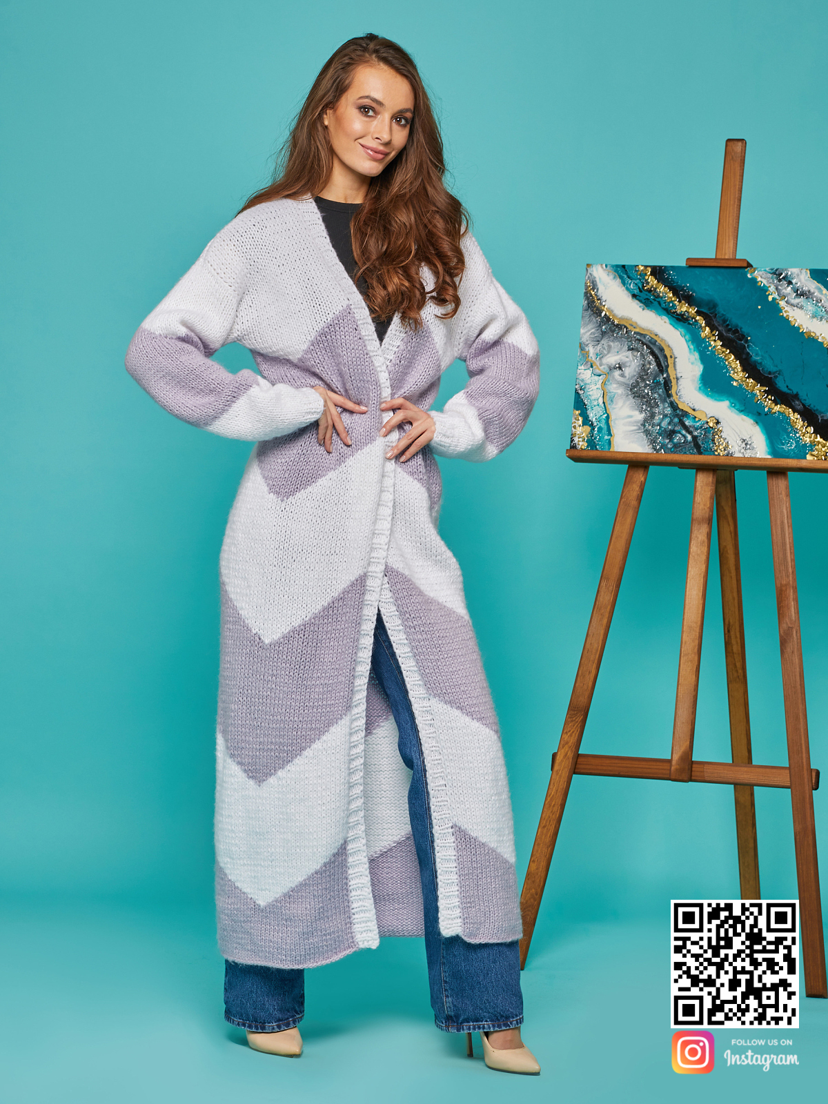 На седьмой фотографии теплый кардиган женский из ангоры от Shapar, бренда вязаной одежды ручной работы в интернет-магазине связанных спицами вещей.