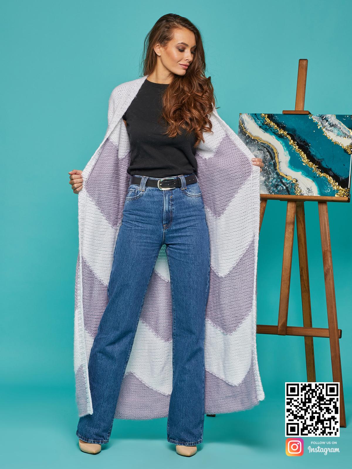 На пятой фотографии длинный кардиган женский из ангоры от Shapar, бренда вязаной одежды ручной работы в интернет-магазине связанных спицами вещей.