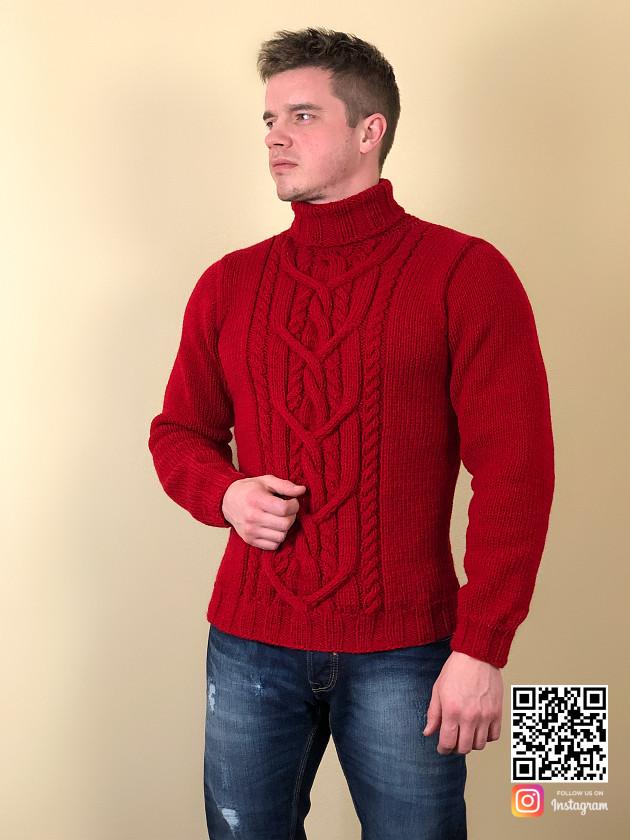 На фотографии красный свитер мужской от Shapar, бренда вязаной одежды ручной работы в интернет-магазине связанных спицами вещей.