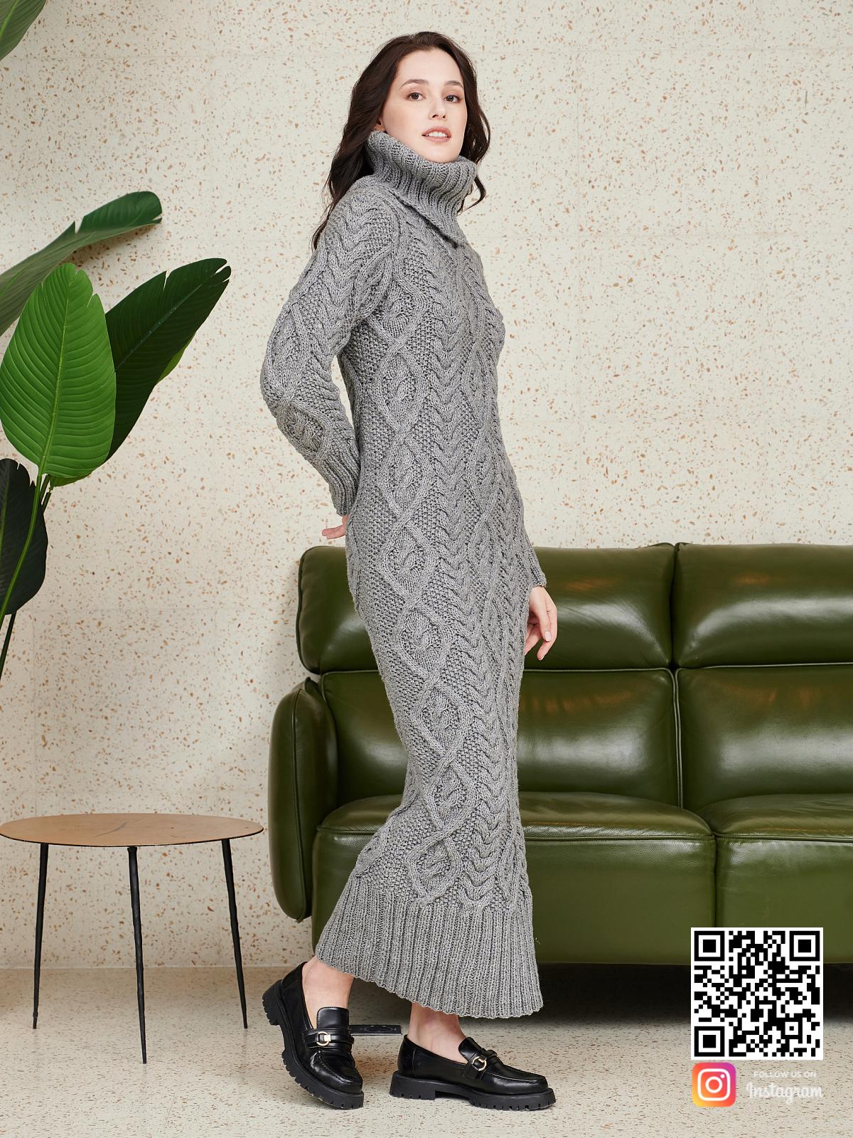 На шестой фотографии длинное серое шерстяное платье от Shapar, бренда женской одежды ручной работы в интернет-магазине связанных спицами вещей.