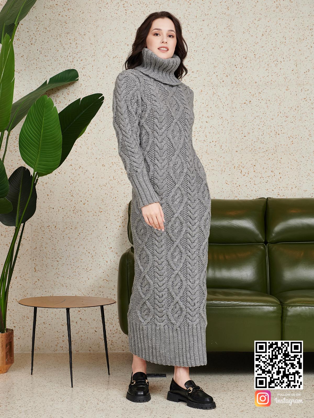 На четвертой фотографии серое шерстяное платье в косах от Shapar, бренда женской одежды ручной работы в интернет-магазине связанных спицами вещей.