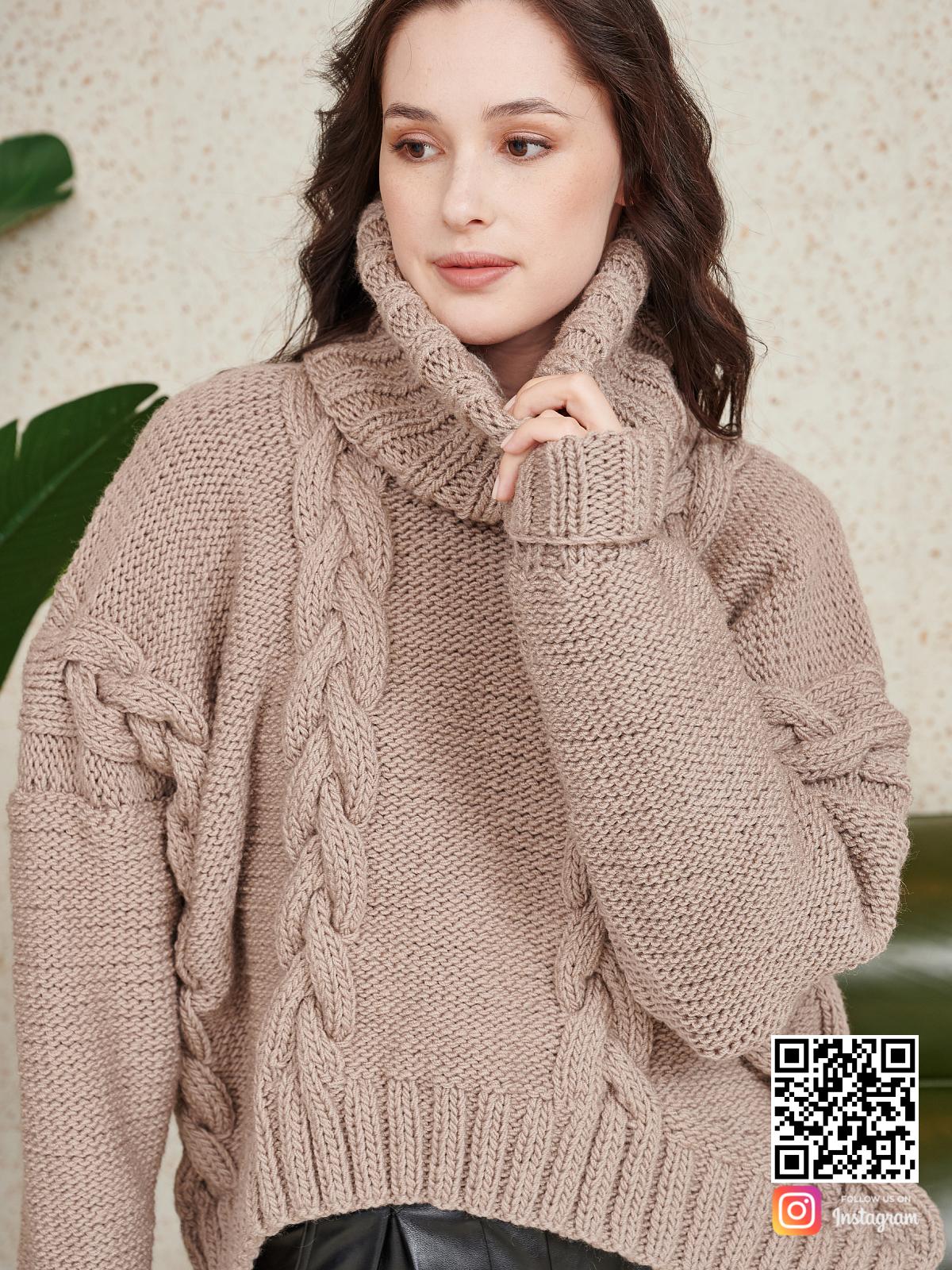 На шестой фотографии женский свитер на каждый день кофейного цвета от Shapar, бренда вязаной одежды ручной работы в интернет-магазине связанных спицами вещей.