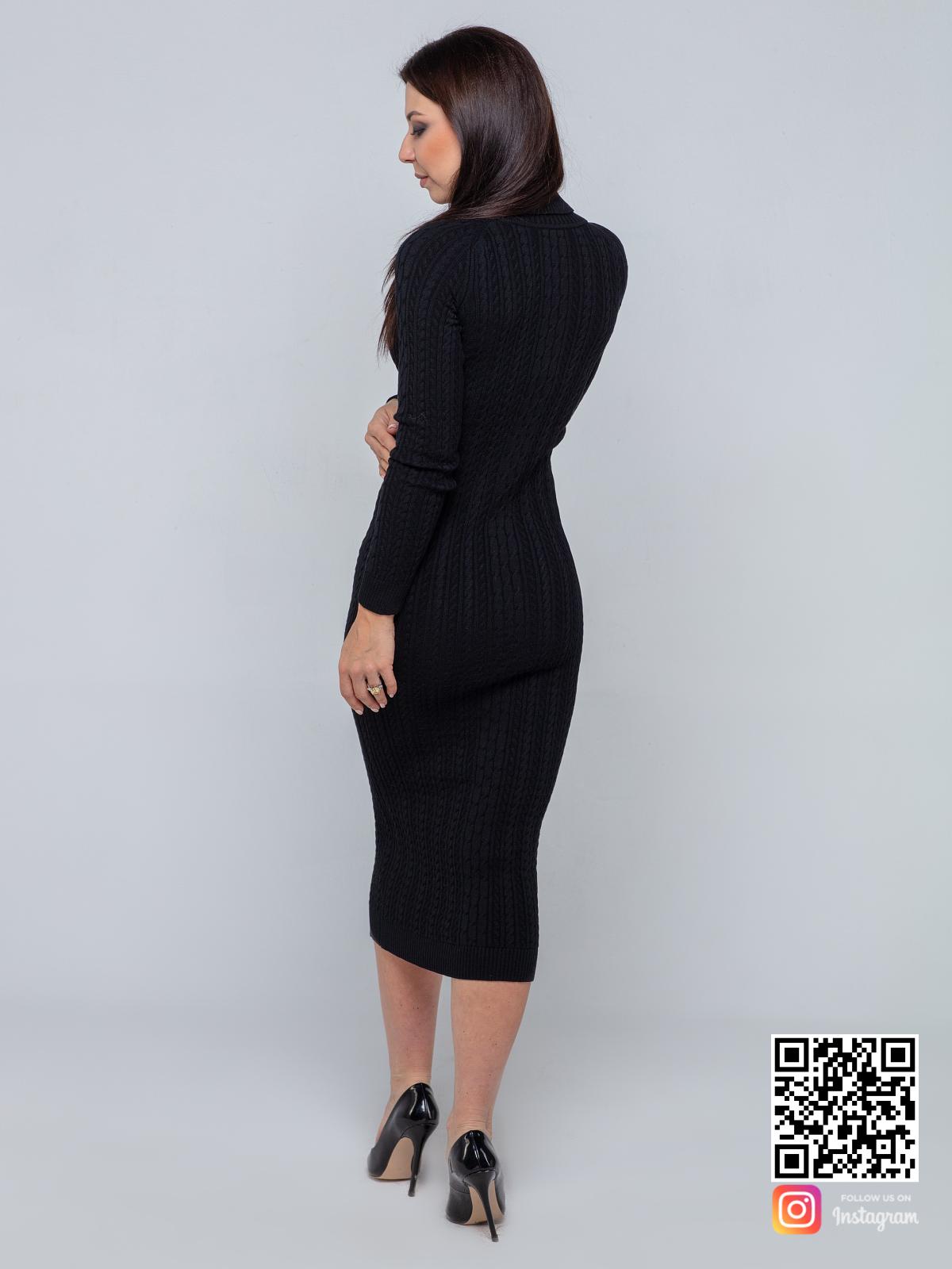 На шестой фотографии черное трикотажное платье в косах от Shapar, бренда вязаной одежды ручной работы в интернет-магазине связанных спицами вещей.