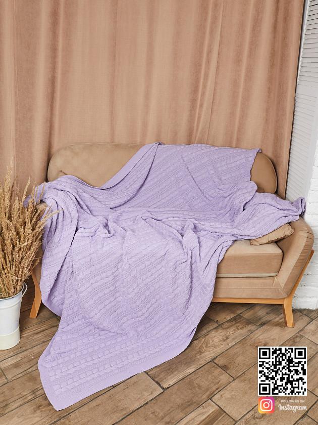 На фотографии вязаный плед сиреневый в интернет-магазине Shapar, бренда трикотажа и связанной одежды ручной работы.